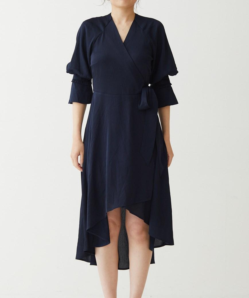 シャイニークロスオーバーミディアムドレス-ネイビー-S-M