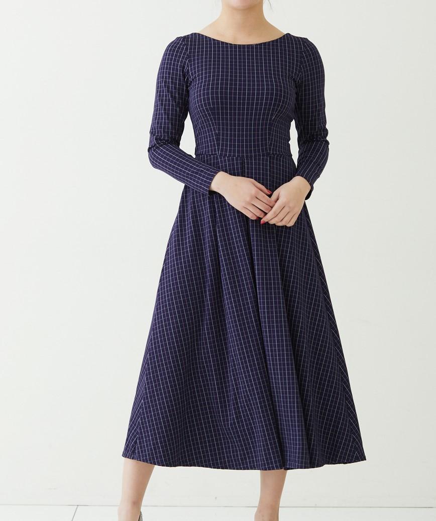 グリッドラインAラインミディアムドレス-ネイビー-S-M