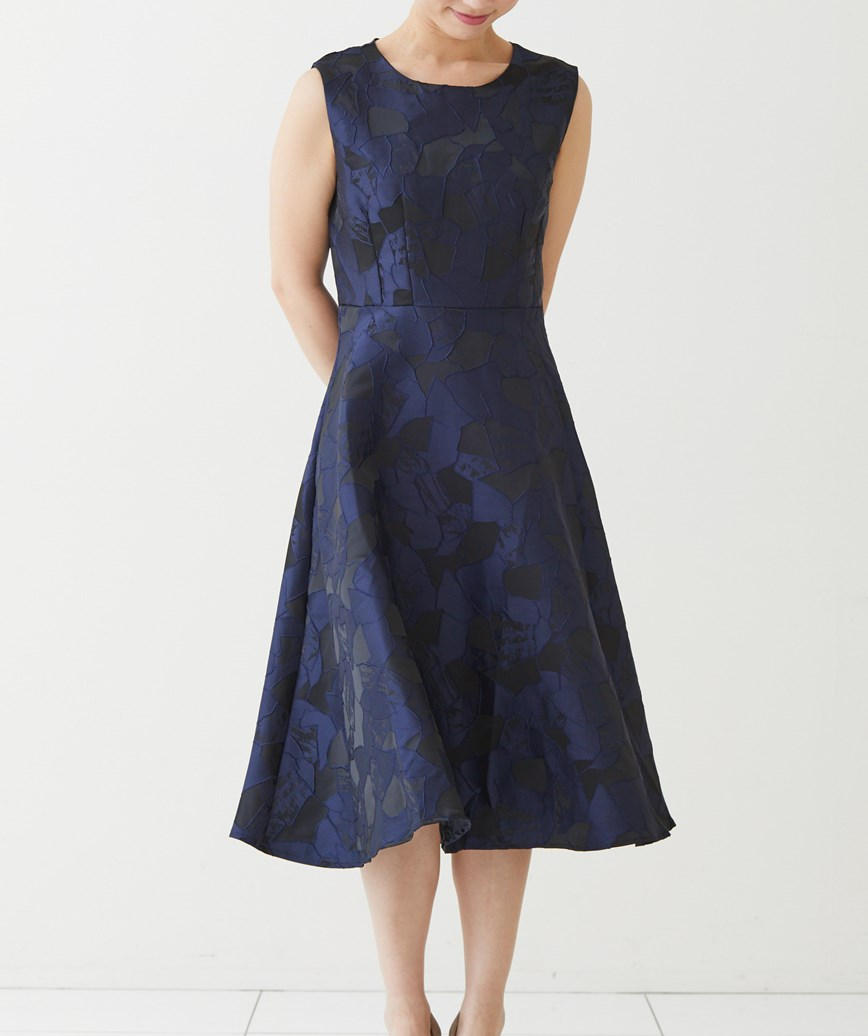 ヴィンテージジャガードミディアムドレス-ネイビー-M