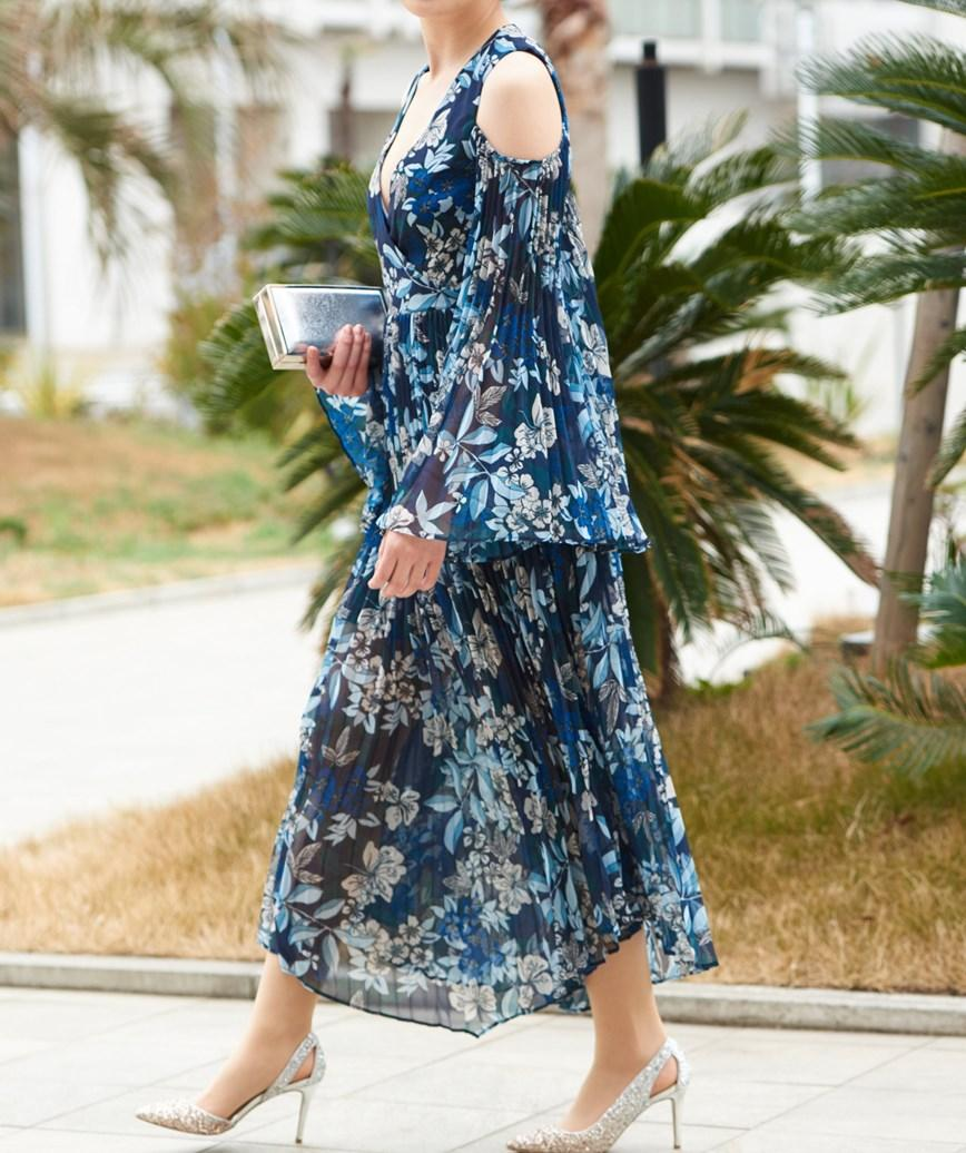 プリーツスリーブフラワーパタンターンミディアムドレス-ブルー-S