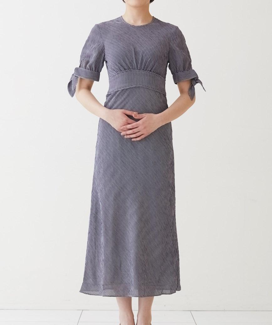 ネイビー×ホワイトチェックハイウエストミディアムドレス-ネイビー-S