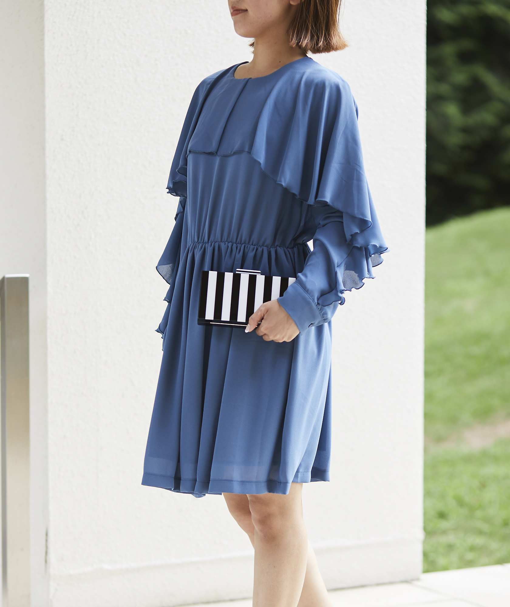 フリルスリーブシフォンショートドレス―ブル―-ブルー-S
