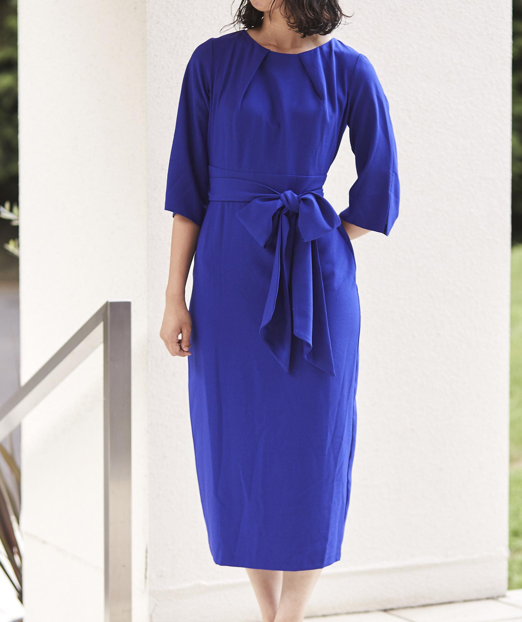 クルーネックウエストマークミディアムドレス-ブルーー-M-L