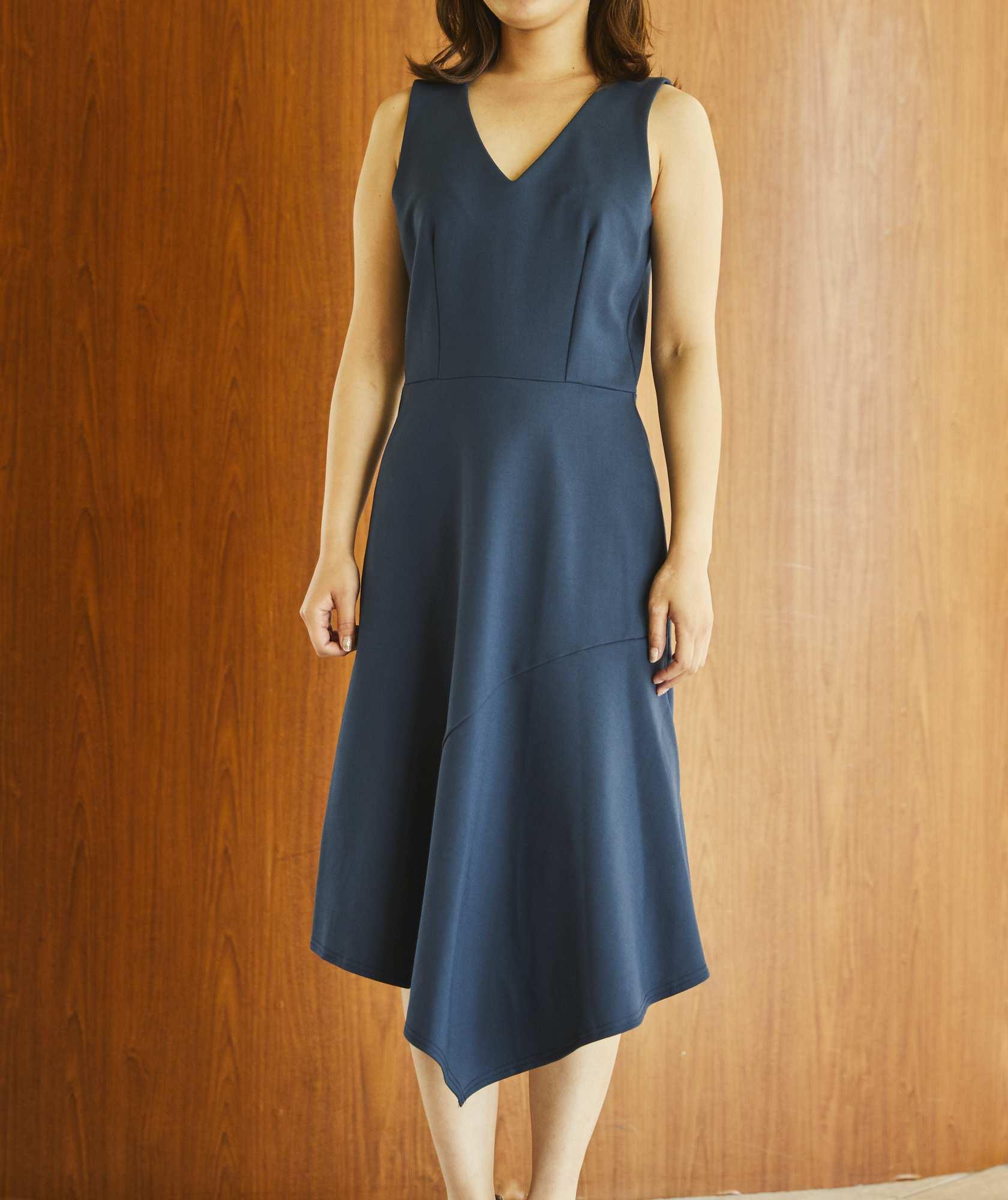 Vネックアシンメトリージャージーミディアムドレス-ネイビー-S