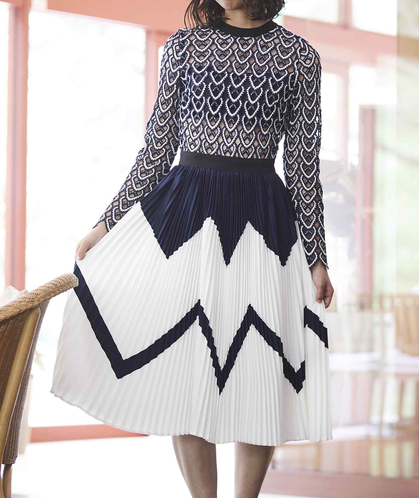 フルスリーブセパレートデザインプリーツミディアムドレス-ブルー-M