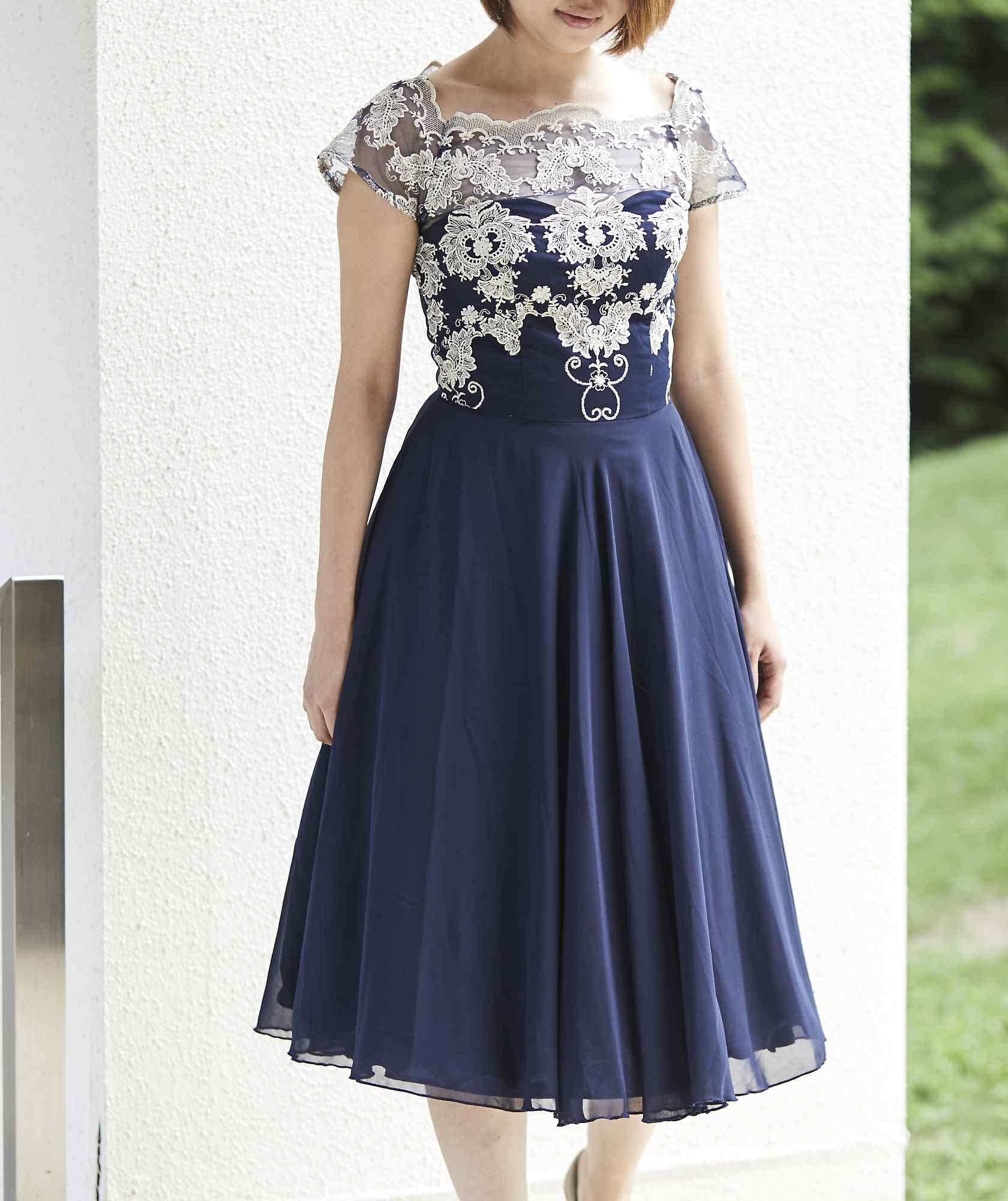チュールAラインエンブロイダリーミディアムドレス-ネイビー-S