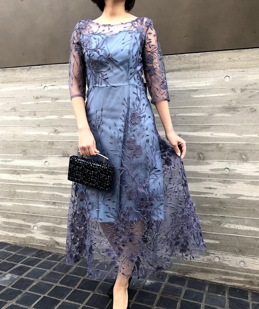 フラワーエンブロイダリーチュールミディアムドレス-ブルー-L