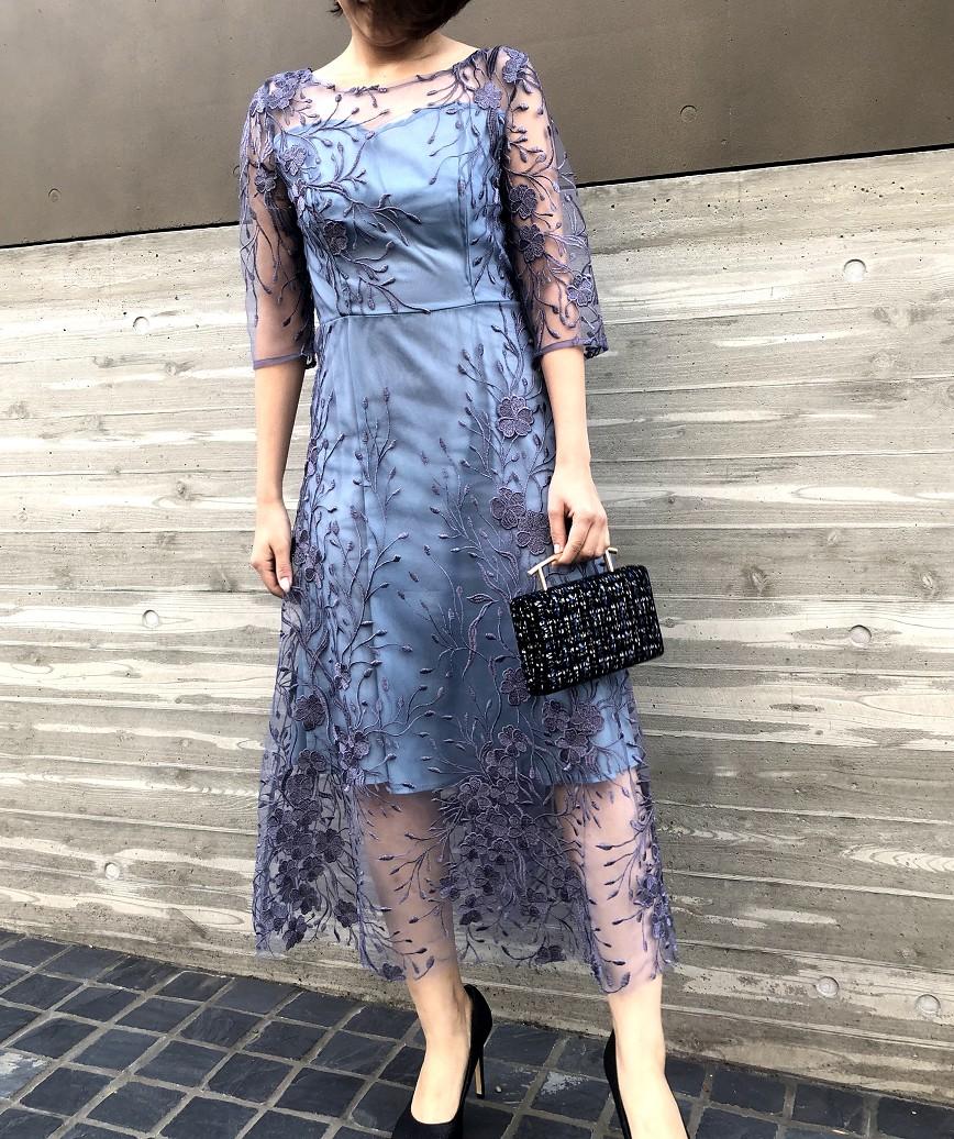 フラワーエンブロイダリーチュールミディアムドレス-ブルー-M