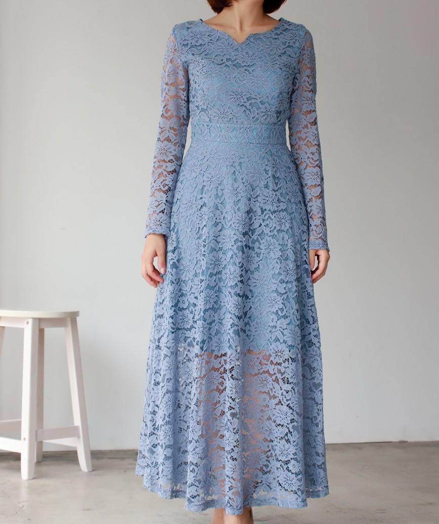 カッティングネックフルレースAラインミディアムドレス-ブルー-S