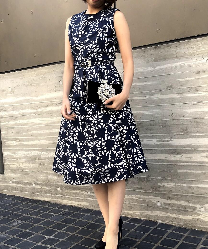 ボタニカルフルパターンAラインミディアムドレス-ネイビー-M