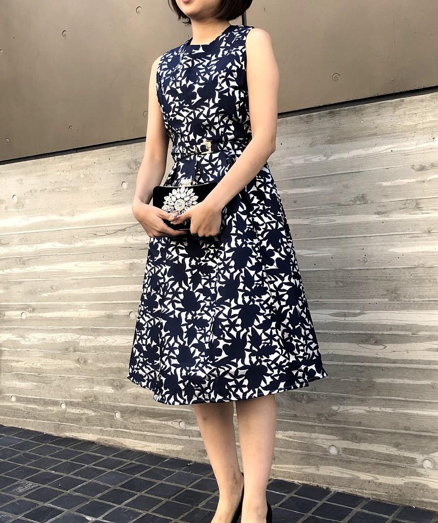 ボタニカルフルパターンAラインミディアムドレス-ネイビー-S