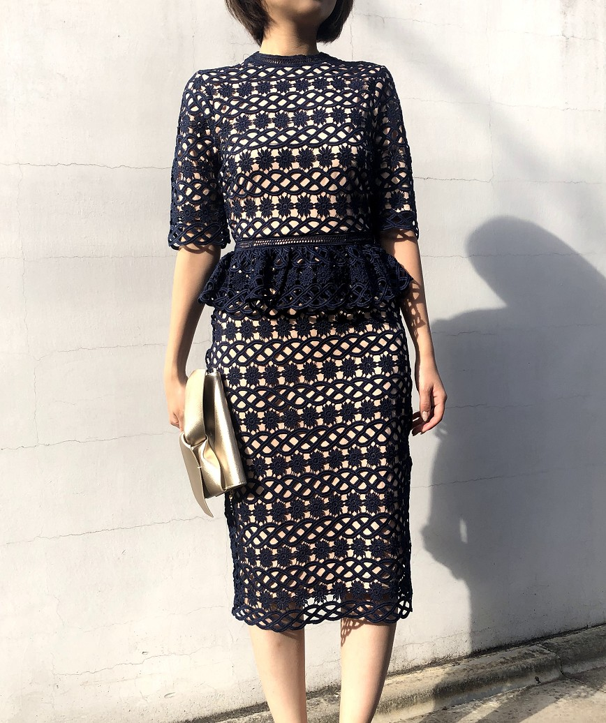 ペプラムレースタイトミディアムドレス-ネイビー-S