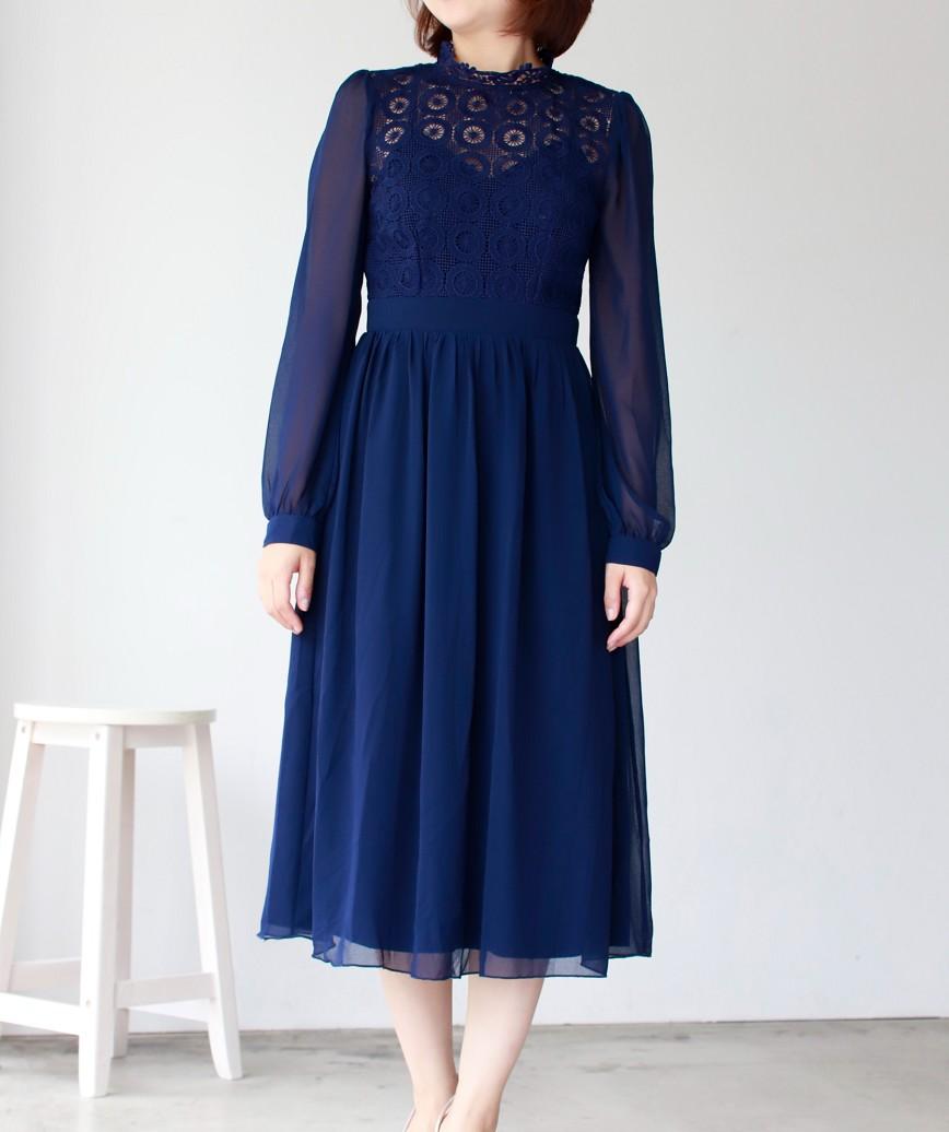 ハイネックチュールレースAラインミディアムドレス-ネイビー-S