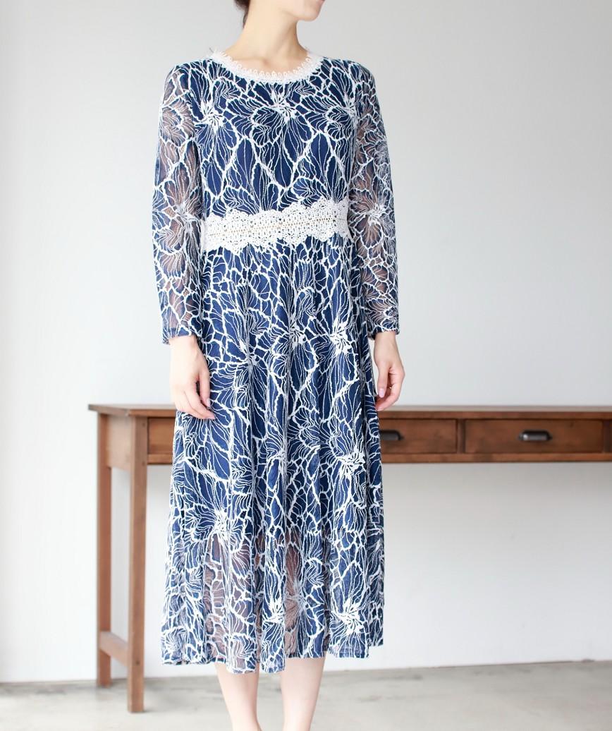 フルレースウエストマークボタミディアムドレス-ブルー-S-M