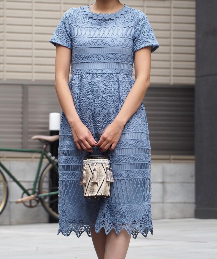フルレースショートスリーブカラーミディアムドレス-ブルー-S