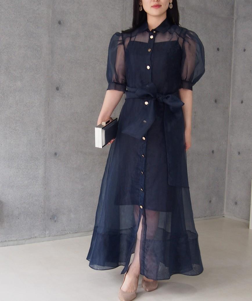 パフシースルークラシカルミディアムドレス-ネイビー-S