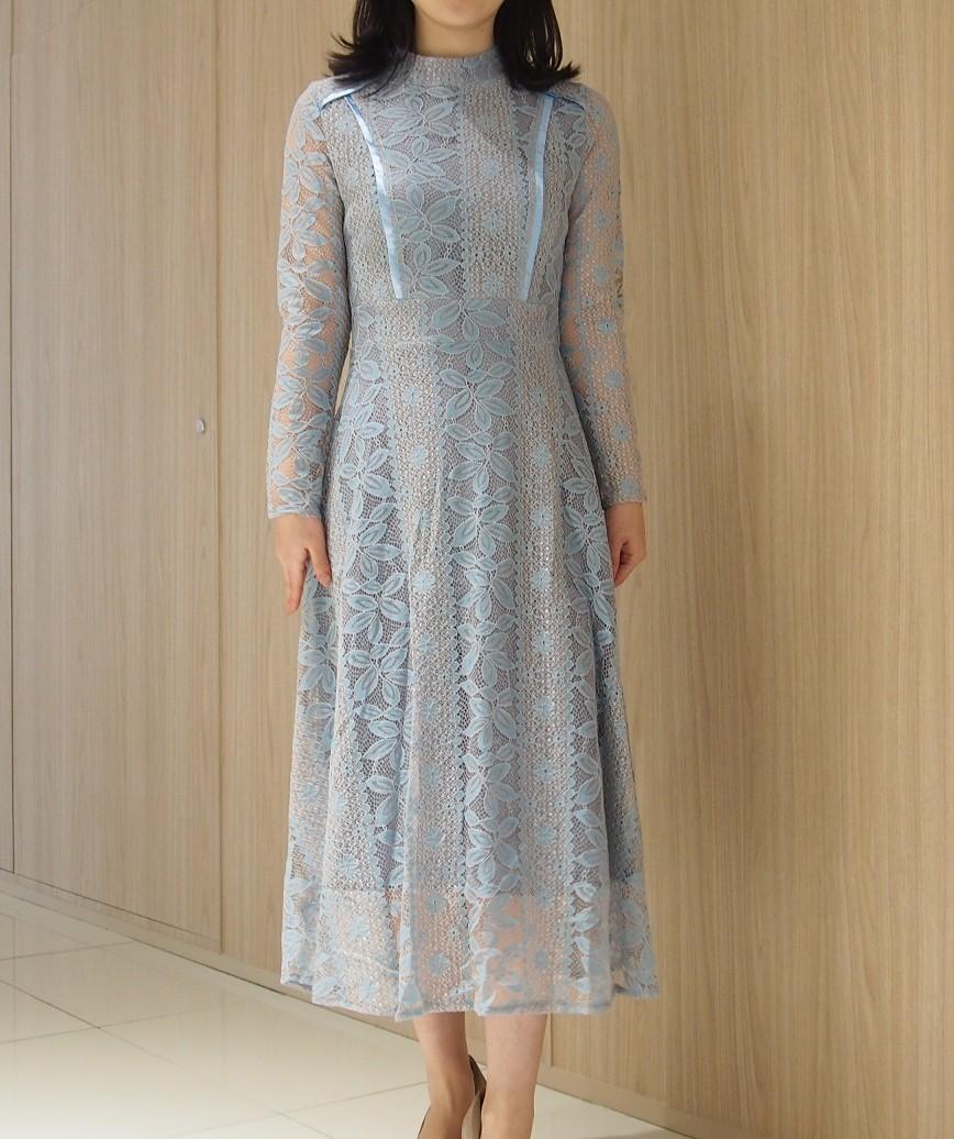 ハイネックデザインロングスリーブレースミディアムドレス-ブルー-S