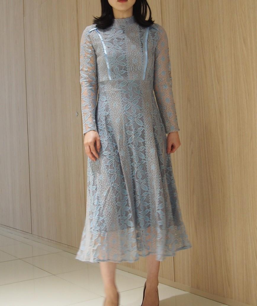 ハイネックデザインロングスリーブレースミディアムドレス-ブルー-M