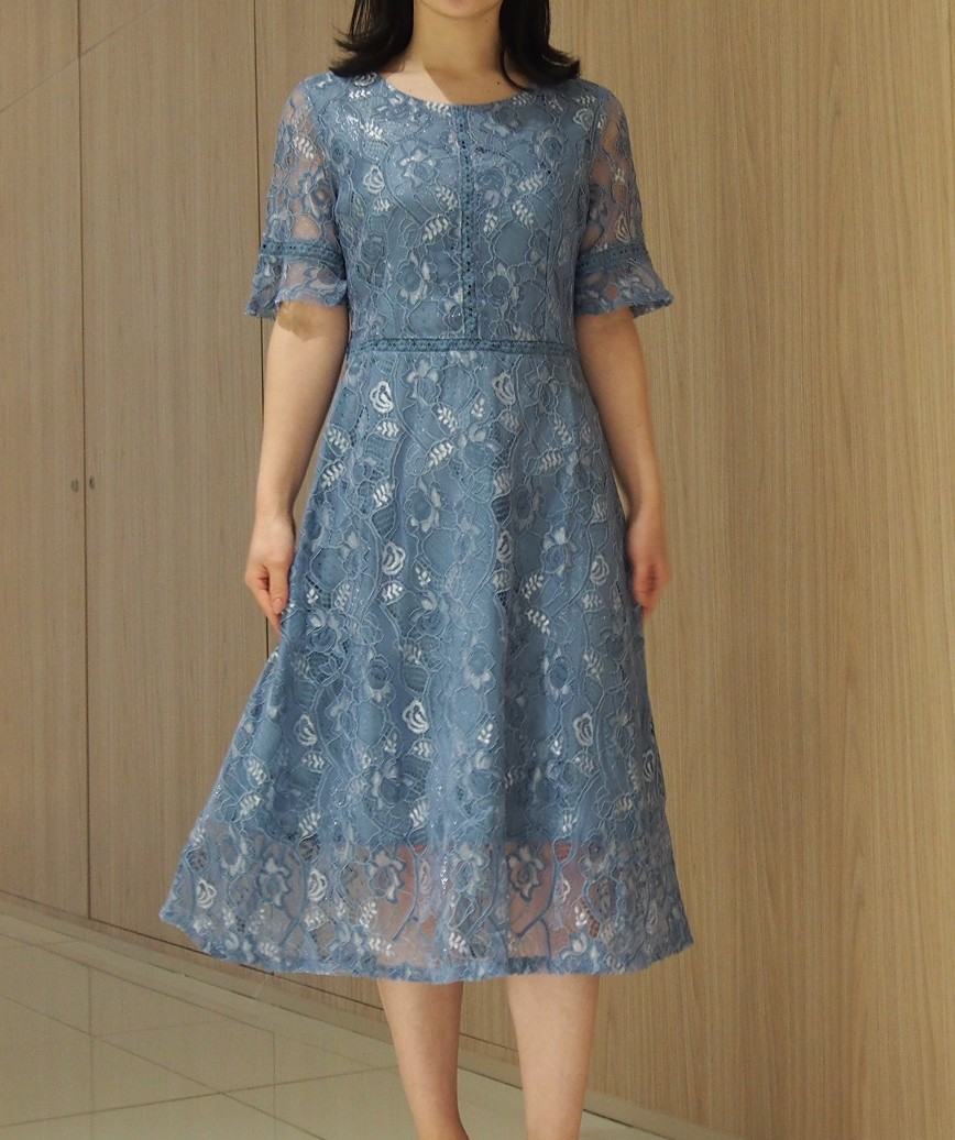 フルレーステントップAラインミディアムドレス-ブルー-S