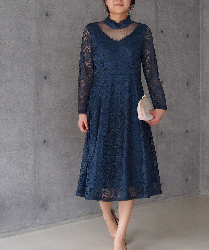 クラシカルハイネックレースミディアムドレス-ブルー-S-M