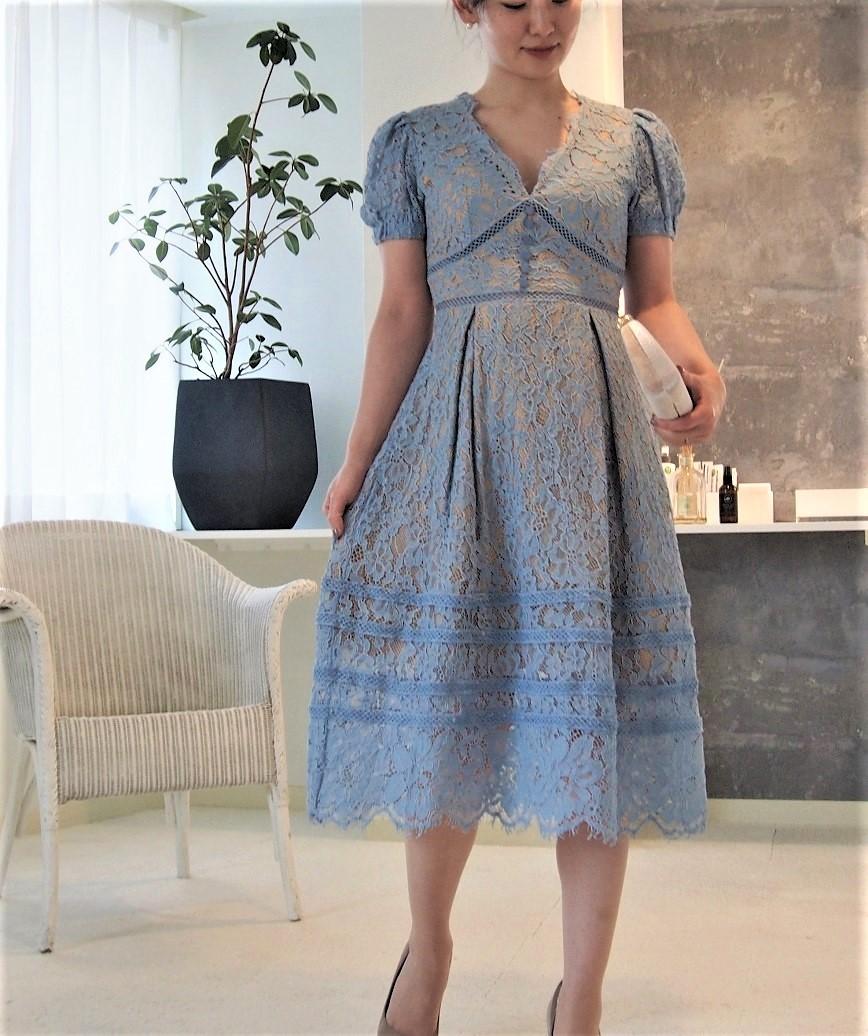 VネックAラインフルレースパプミディアムドレス-ブルー-M