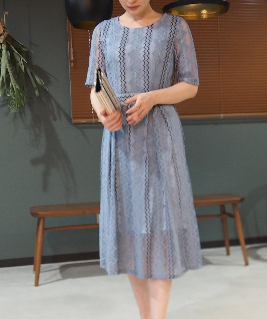 スモーキーストライプレースショートドレス-ブルー-M