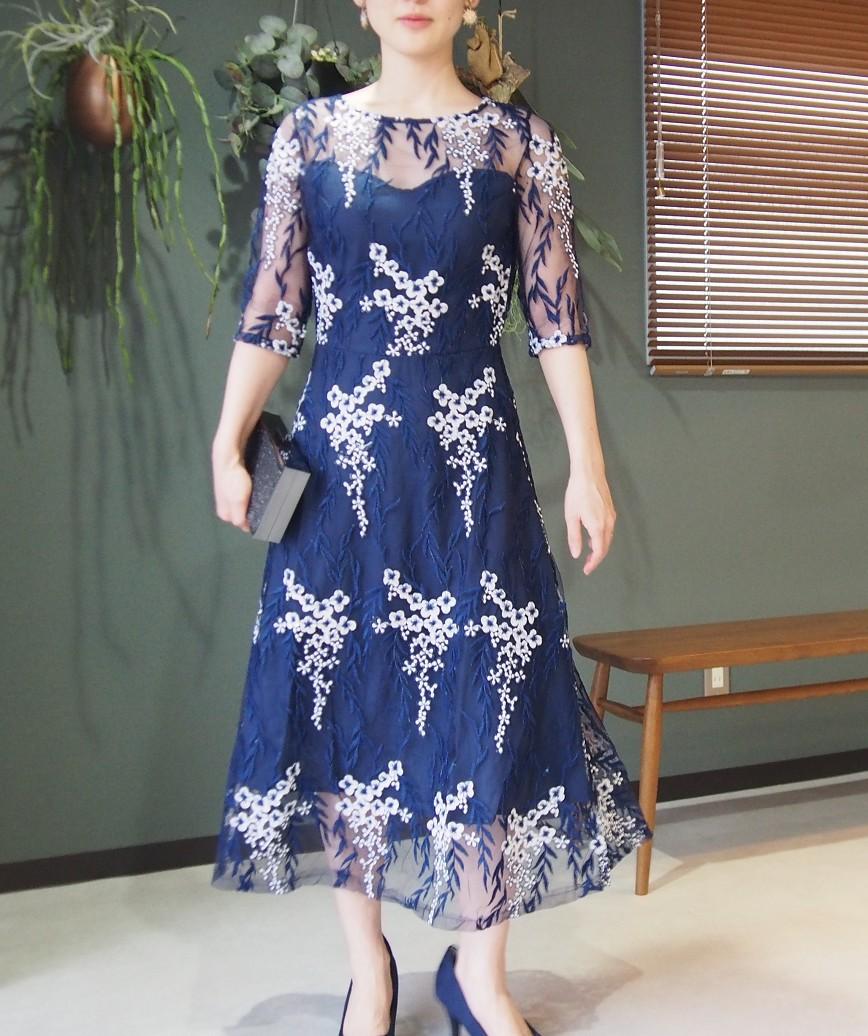 フラワーエンブロイダリーチュールコントラストミディアムドレス-ブルー-L
