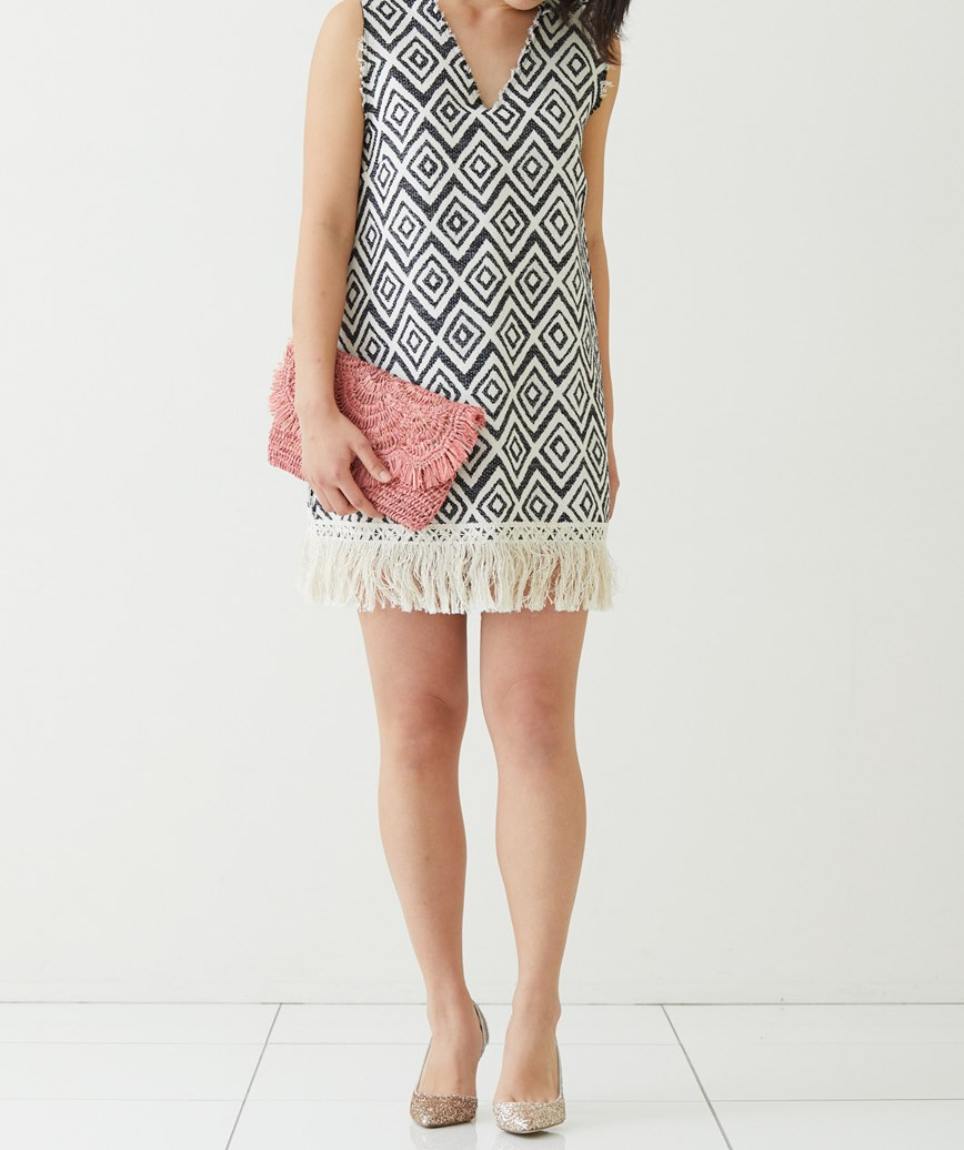 裾フリンジカジュアルショートドレス-ホワイト-S