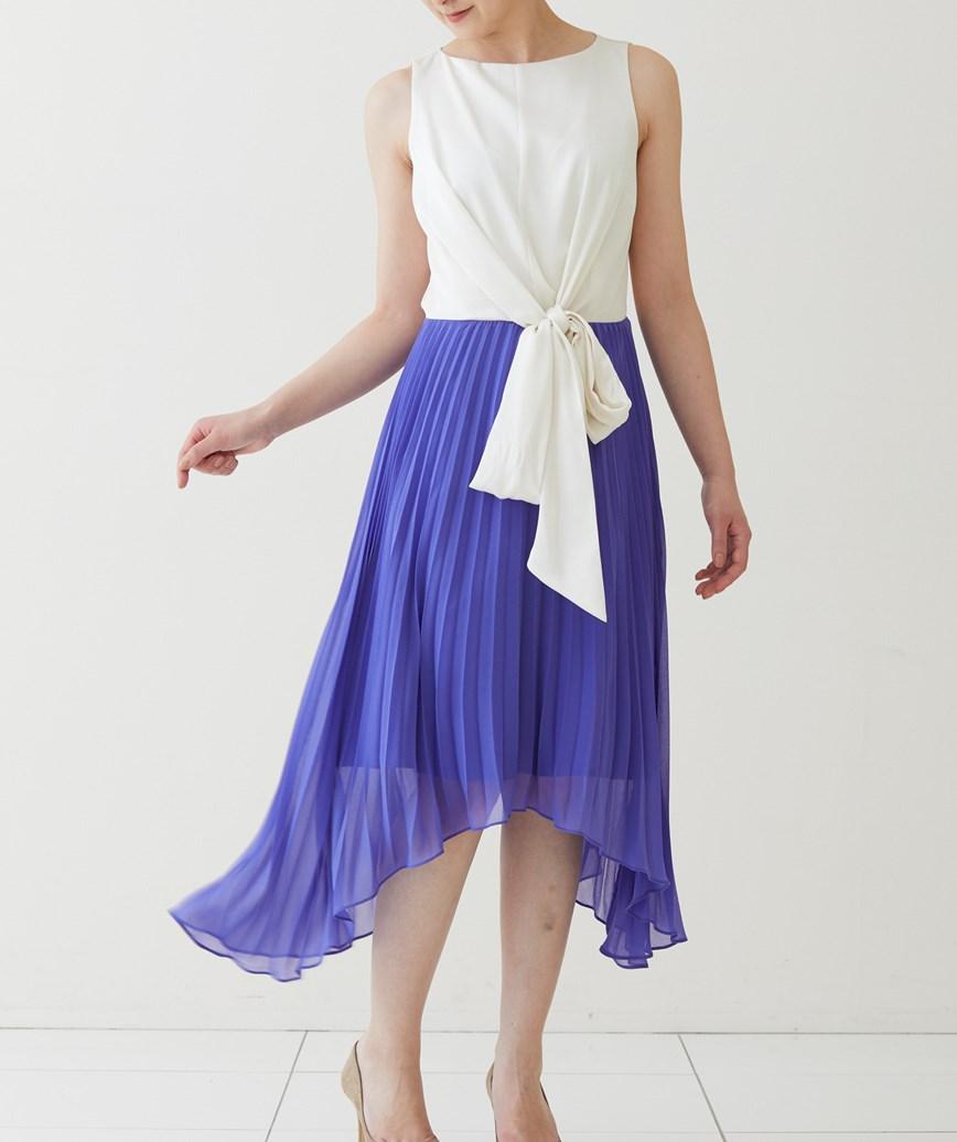 プリーツスカート2イン1ミディアムドレス-ホワイト×ブルー-S-M