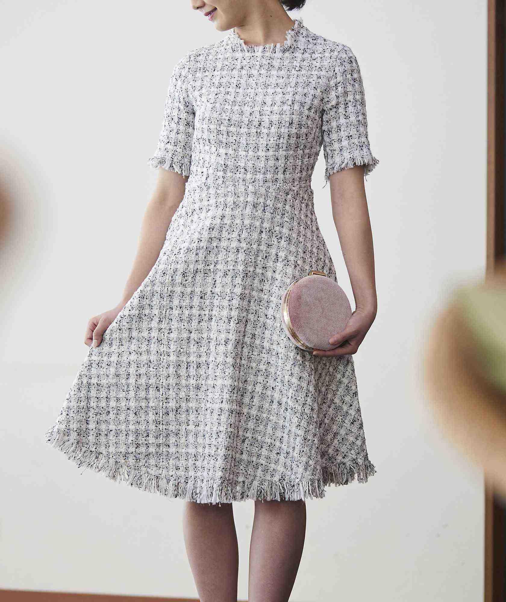 ツイードAラインフレアミディアムドレス-ホワイト-S