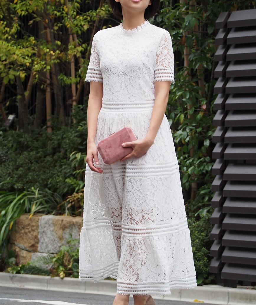 ハイネックフルレースAラインミディアムドレス-ホワイト-S