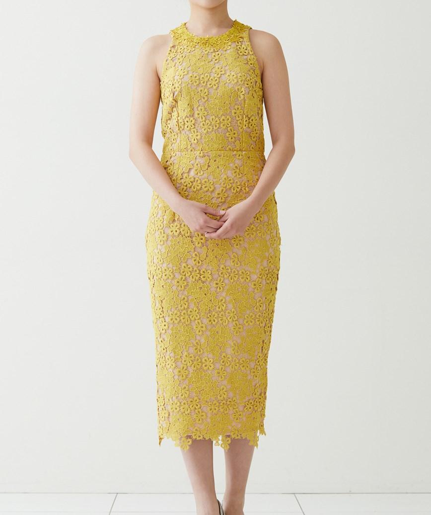 アメリカンスリーブレースミディアムドレス-イエロー-S