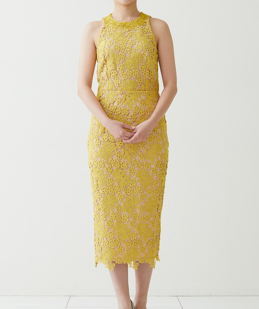 アメリカンスリーブレースミディアムドレス-イエロー-L