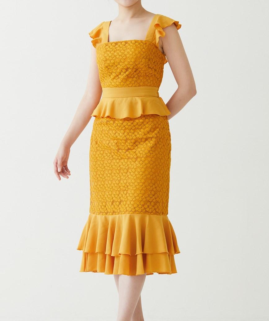 フリルレースアップバックミディアムドレス―イエロー-S