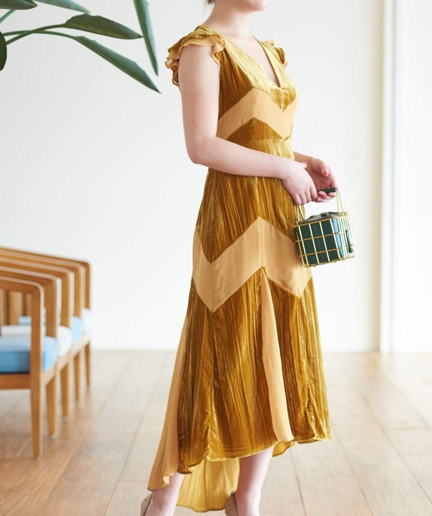 ストライプベルベットミディアムドレス―イエロー-M-L