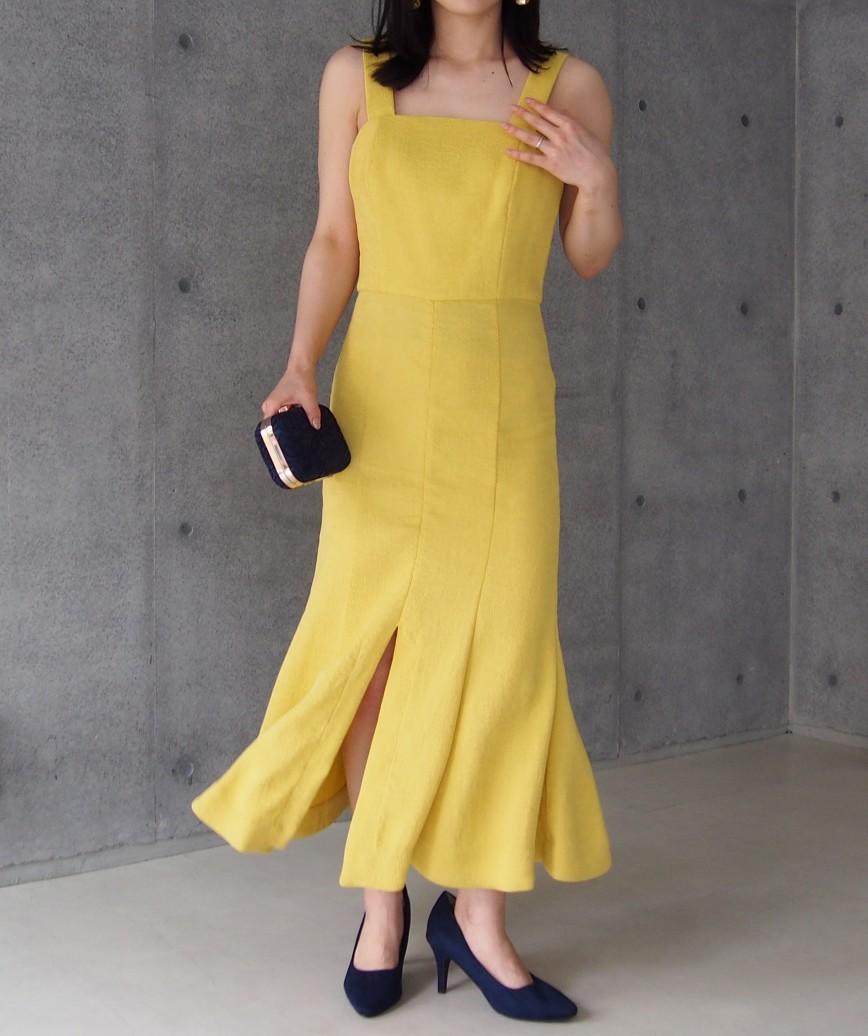 ノースリーブマーメードミディアムドレス-イエロー-S