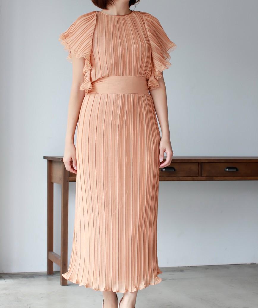 フリルスリーブフルギャザーウエストリボンミディアムドレス-オレンジ-S