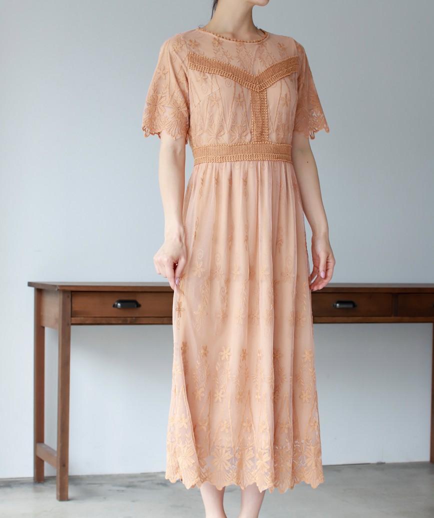 ブラッシュフルレースボヘAラインミディアムドレス-オレンジ-S
