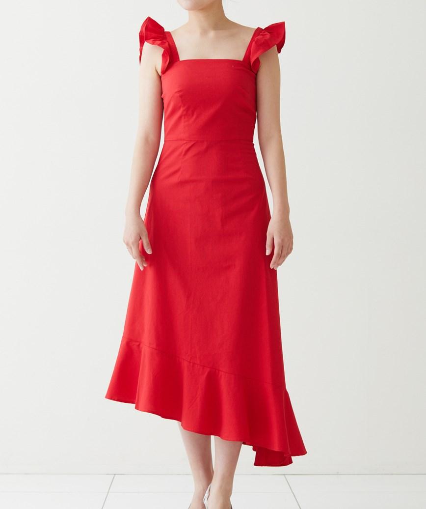 コットンアシンメトリーミディアムドレス-レッド-S