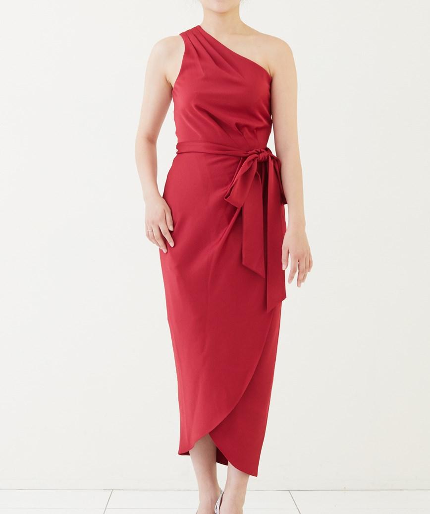 ワンショルダードレープミディアムドレス―レッド-S-M