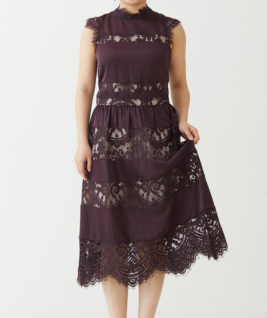 ハイネックストライプレースミディアムドレス-ボルドー-S-M
