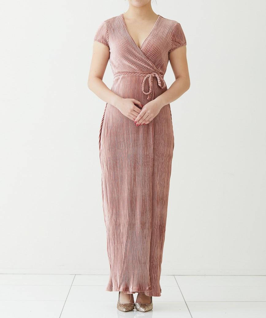 ピンクベルベットラップロングドレス-スモーキーピンク-S-M