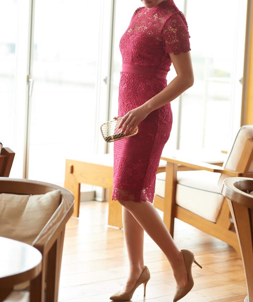 ショートスリーブタイトショートドレス-レッド-S-M