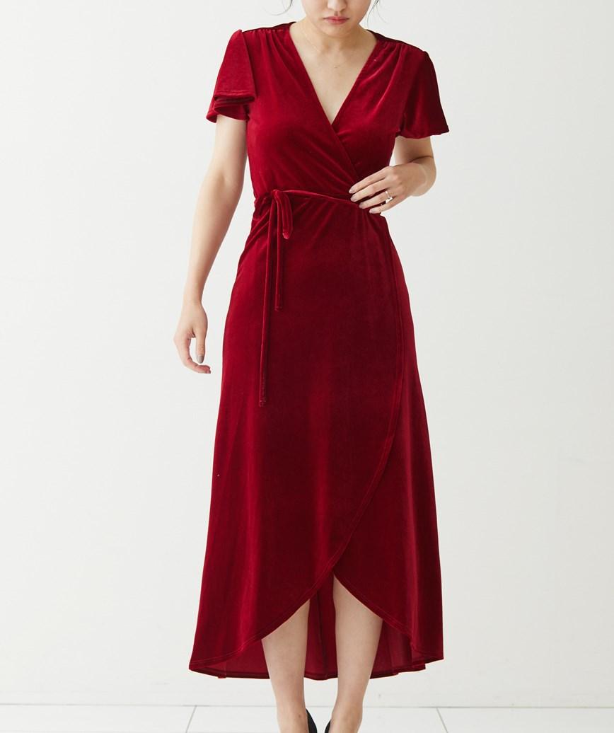 ベルベットラップロングドレス-ボルドー-S-M