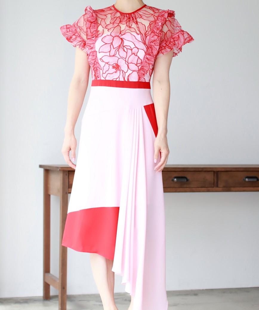 アシンメトリーレースデザインスカートミディアムドレス-レッド-S