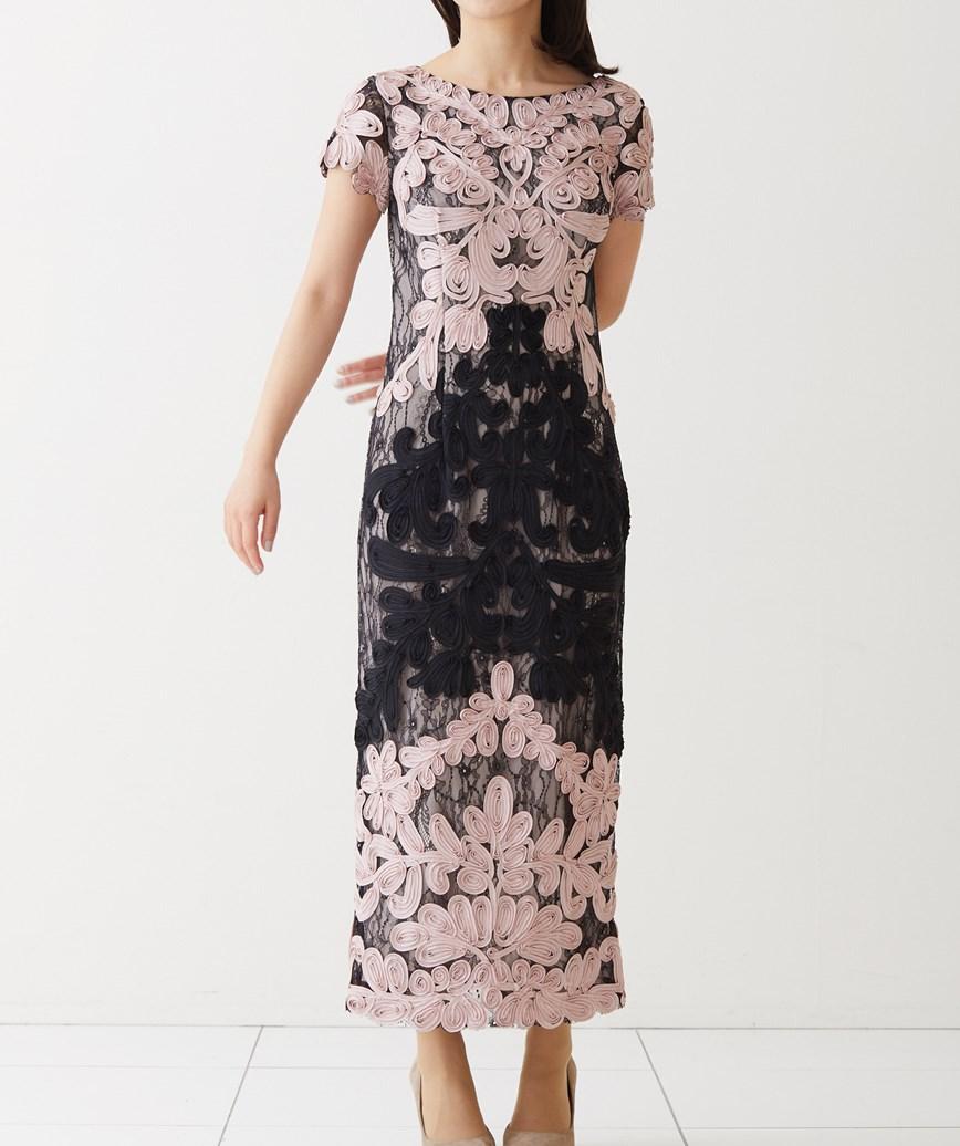 ピンクエンブロイダリータイトロングドレス―ピンク-M-L