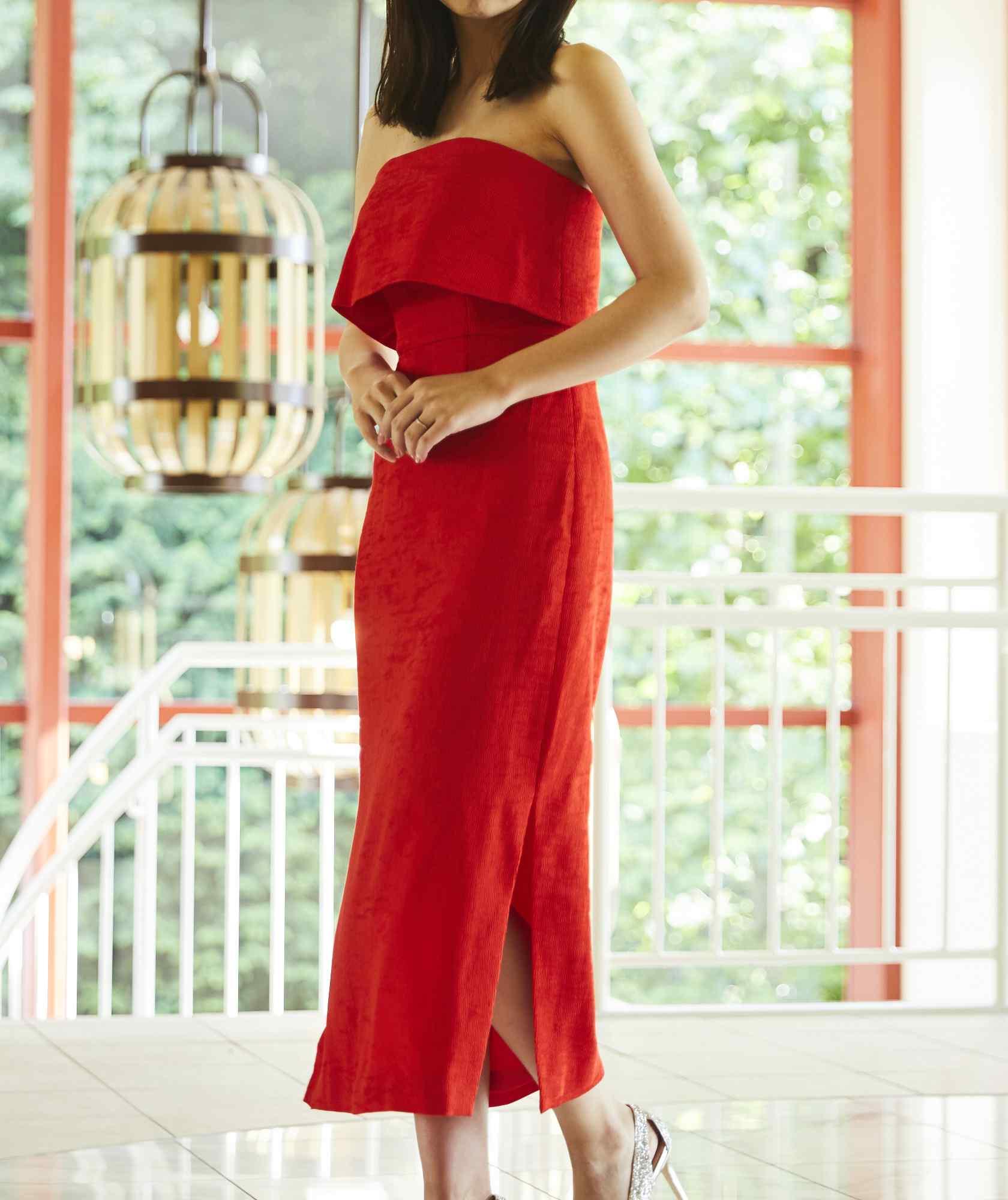 ベアデザインタイトミディアムドレス-レッド-S