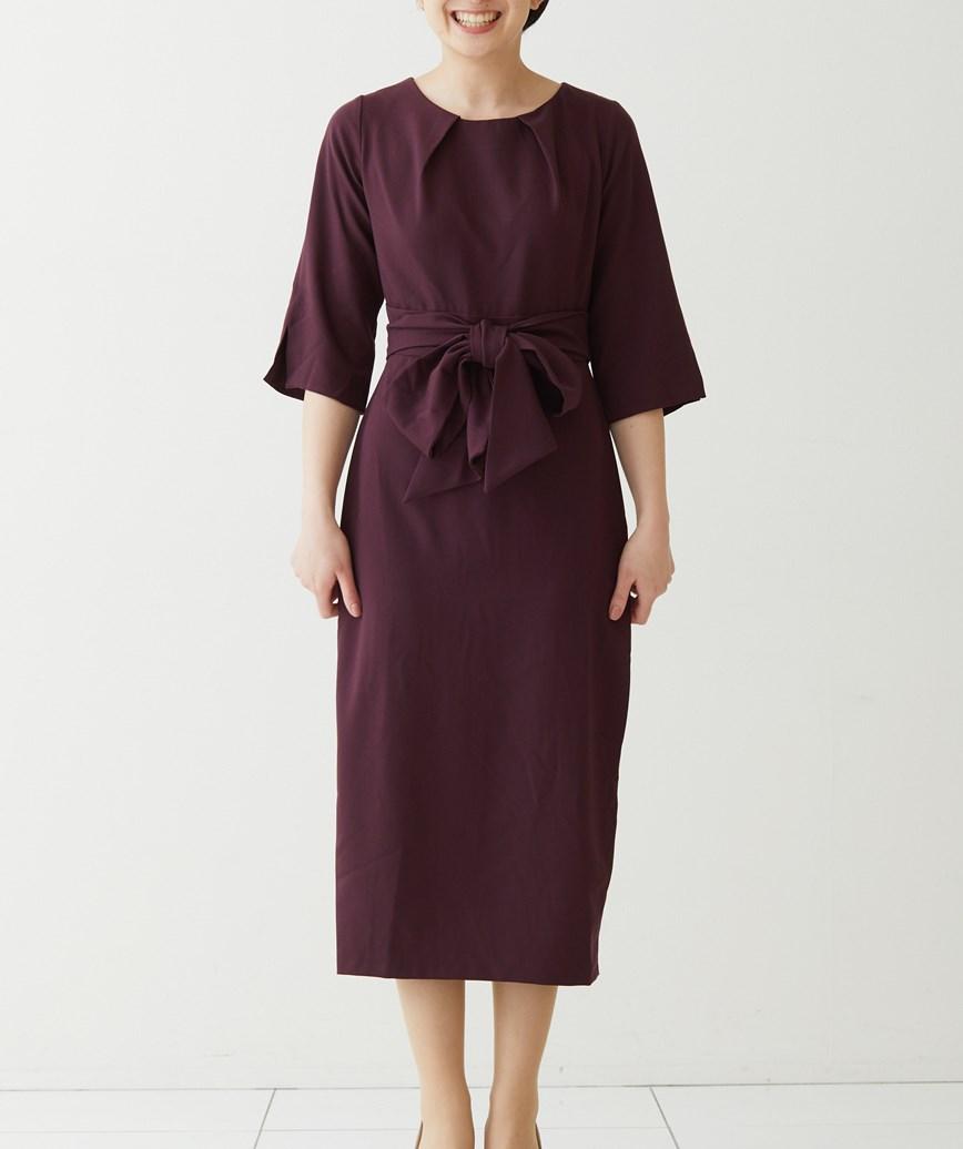 クルーネックウエストマークミディアムドレス-ボルドー-S-M