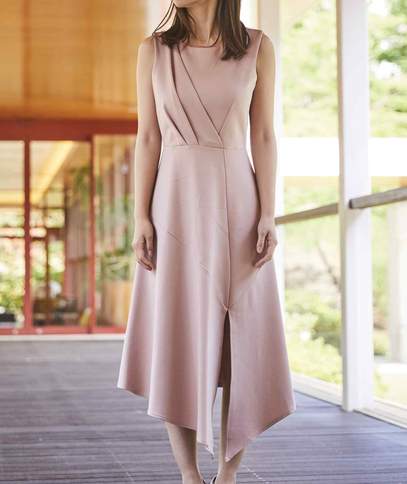 クルースリーブレスジャージーアシンメトリーミディアムドレス-ピンク-S-M