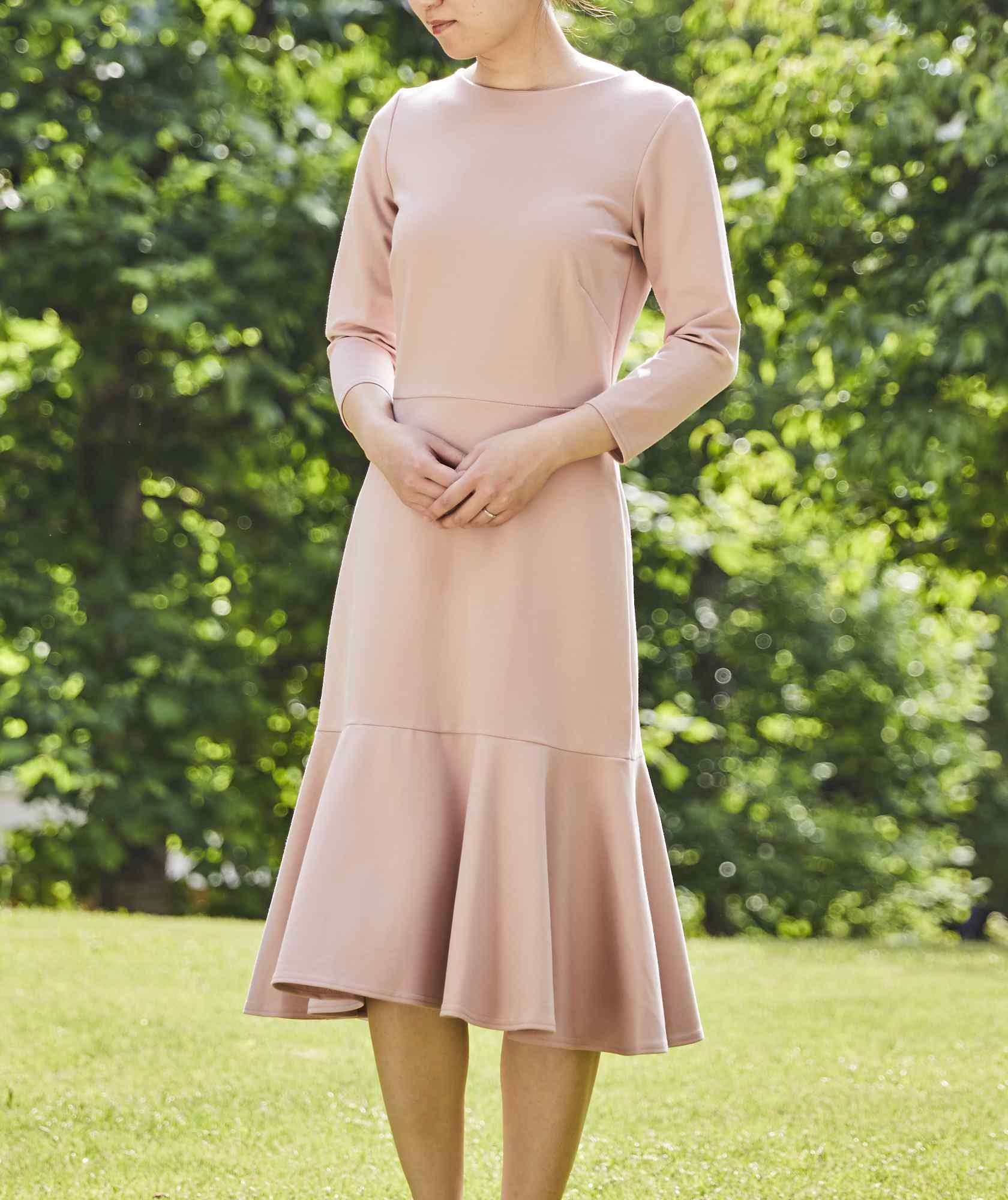 クルーフルスリーブジャージーミディアムドレス-ピンク-S